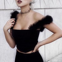 Fuzzy Rabbit Fur Spaghetti Stretchy Cropped Tops