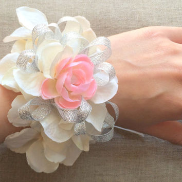Wrist Corsage. Silk Hydrangea Wedding Corsage. Lace Prom Corsage. Shabby Chic Wedding Corsage. Baby Shower Corsage. Mom to Be Corsage.