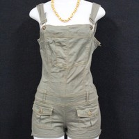 Olive Romper Overall Shorts
