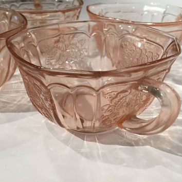 Pink Mayfair Open Rose Teacups| Pink Depression Glass Teacups Set of 4