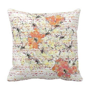 Yellow, Gold and Orange Abstracted Flower Sketch Throw Pillow