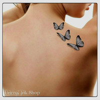 Temporary Tattoo 3D Butterflies Fake Tattoo Flying Butterfly Thin Durable Realistic