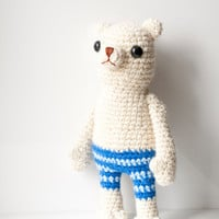Willy the polar bear. Soft sculpture, amigurumi, toy bear. White with blue striped pants.