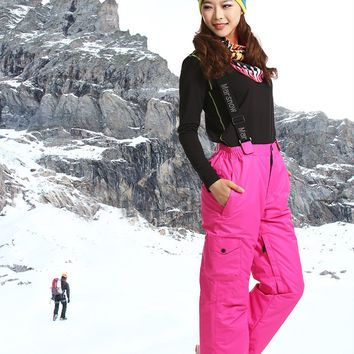 Women's Outdoor Water Repellent Windproof Fleece Hiking Snow Skiing pants