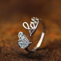 Open Love Letter Crystal Heart Ring Adjustable Best Friend Ring Jewelry Gold Silver Gift Idea
