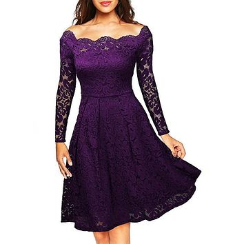 Off Shoulder Solid Color Lace Knee-length Dress