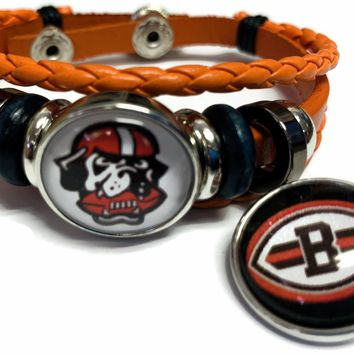 NFL Cleveland Browns Orange Leather Bracelet W/2 Football Logo Dawg Pound Snap Jewelry Charms New Item