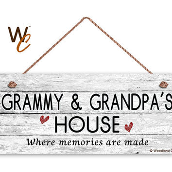 "GRAMMY & GRANDPA'S HOUSE Sign, Where Memories Are Made, Distressed Style, Gift For Grandparents, Weatherproof, 6"" x 14"" Sign, Made To Order"