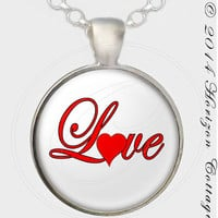 Valentine Heart Love Pendant or Key Ring
