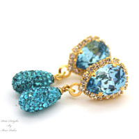 Blue aqua Teal pear shape Swarovski Chandelier earring  wedding jewelry - 14k Gold plated  real Swarovski crystals dangle earrings.