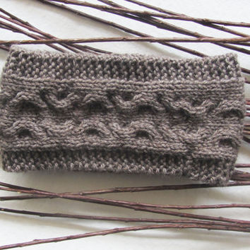 Knit Cable Headband in Taupe,Handmade Headband,Hair Wrap,Winter Ear Warmer,Warm Headband,Winter Headband,Knit Women Accessories,Knit Gifts