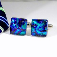 Dichroic Glass Cufflinks, Green Purple and Blue Square, Handmade