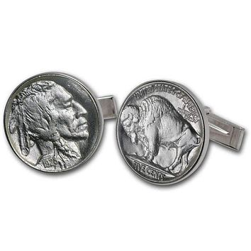 United States Buffalo Nickel Sterling Silver Cuff Links