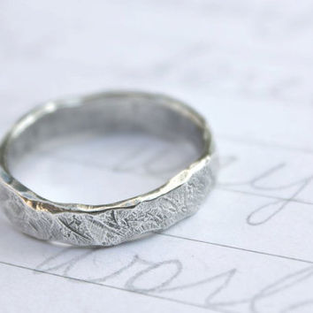 recycled silver mens wedding band ring . custom rustic wedding ring with inscription . river rock wedding ring