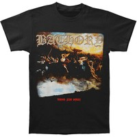 Bathory Men's  Blood Fire Death Slim Fit T-shirt Black