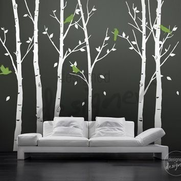 Wall Decal  Original Design -Tree Wall Decal -Winter trees with birds wall decals art wall decor