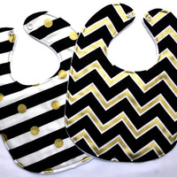 Baby Bib Set - Chevron, Stripes, and Polka dot Bib Set - Black and Gold Bib Set - UCF Bib - White Minky Fabric- Handmade Baby Gift