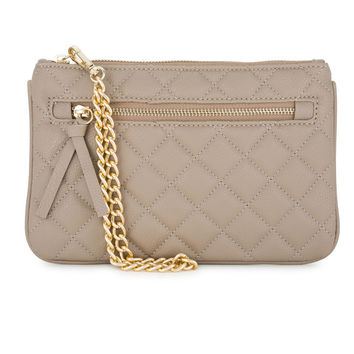 Quilted Faux Leather Clutch Taupe