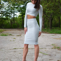 SAMPLE SALE Set Of two 2 high waist high waisted pencil tight skirt and short cropped top heather gray high waisted skirt pencil skirt