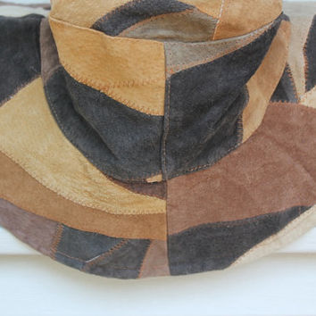 Brown Leather Hat, Leather Patchwork
