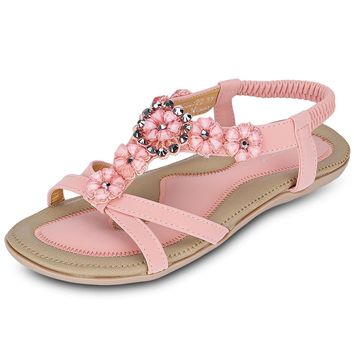 SIKETU Bohemia Beads Open Toe Elastic Band Gladiator Sandals for Ladies