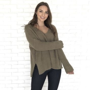 One Or The Other Olive Sweater