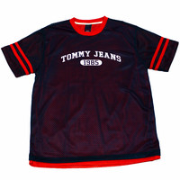 Vintage 90s Tommy Jeans Navy/Red Jersey Shirt Mens Size Large
