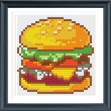 Hamburger Cross Stitch, Counted Cross Stitch, PDF Pattern, INSTANT DOWNLOAD