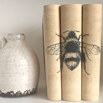 Decorative books - Book art - Bumble Bee - Custom book covers - Interior Design - Custom book jackets - Book Cover Art - Bookcase Decor -