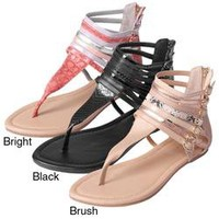 Journee Collection Women's 'Milly-1' Mixed Print Strappy T-strap Sandals | Overstock.com