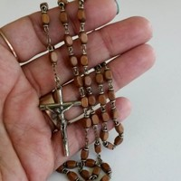 "Vtg Italy Light Brown Wood Rectangle Bead Rosary 18.25"" Silver Tone"