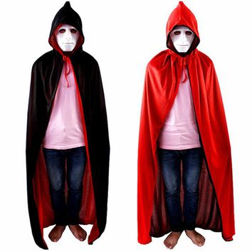 Holloween Vampire Cosplay Cape Robe Hooded Velvet Cloak Gothic Wicca Witch Medieval Halloween Costumes Unisex