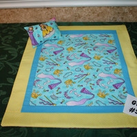 "American Girl sized, reversible doll bed quilt 17"" x 20.5"" with matching pillow 4"" x 6"""
