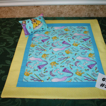 """American Girl sized, reversible doll bed quilt 17"""" x 20.5"""" with matching pillow 4"""" x 6"""""""