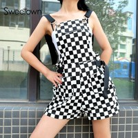 Sweetown Checkerboard Jumpsuit Short Korean Style Women Autumn 2018 Playsuit Overalls Streetwear Cotton Rompers Womens Jumpsuit
