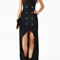 Black Halter Double-Breasted High-Low Dress