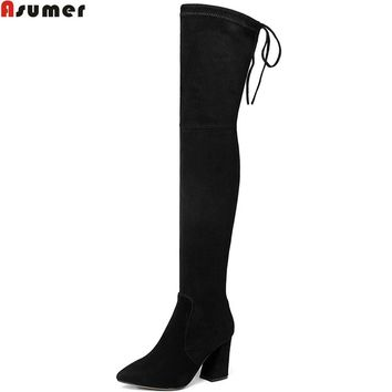 Asumer black fashion autumn women boots pointed toe zipper ladies kid suede boots square heel leather sexy over the knee boots