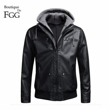 """European Size"" Detachable Cotton Black Hooded Motorcycle Biker Men PU Leather Jacket and Coat Slim Fur Inside Jaqueta Couro"