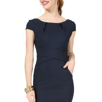 Teeze Me | Cap Sleeve Houndstooth Cross Waist Dress | Black/Navy