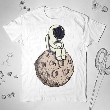 Astronaut Moon Science Funny Graphic Unisex Shirt Top Tee