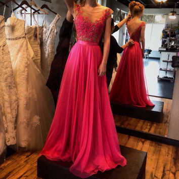 Backless Prom Dresses,Hot Pink Prom Dresses, Long Evening Dress