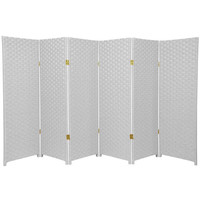 Oriental Furniture SS4FIBER-WHT-6P Four Ft. Tall Woven Fiber Room Divider White Six Panel, Width - 96 Inches