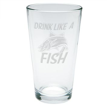 Drink Like A Fish Snook Sergeant Robalo Etched Pint Glass