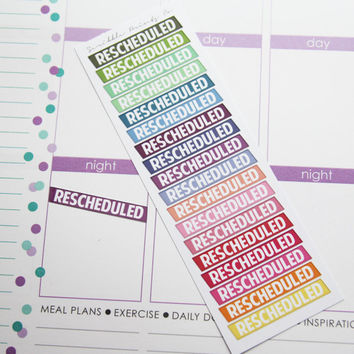 "18 Colorful ""Rescheduled"" Die-Cut Stickers // (Perfect for Erin Condren Life Planners)"