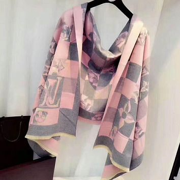 GUCCI X LV Fashion Personality Print Cashmere Scarf Scarves Shawl Accessories Pink I-TMWJ-XDH