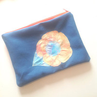 Flower Zipper Pouch - Flower Appliquéd Medium Sized Zipper Pouch
