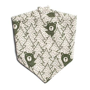 Green Bears Kerchief Bib by Winter Water Factory
