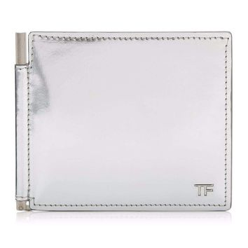 Silver Metallic Money Clip Wallet by Tom Ford