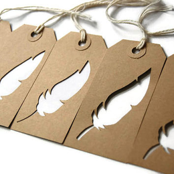 Hand cut rustic feather brown kraft 5 gift tags, shabby chic, perfect for gift wrapping, scrap booking, paper crafts and more.