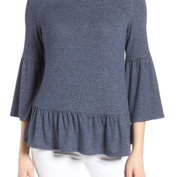 Gibson Cozy Fleece Peplum Top (Regular & Petite) | Nordstrom